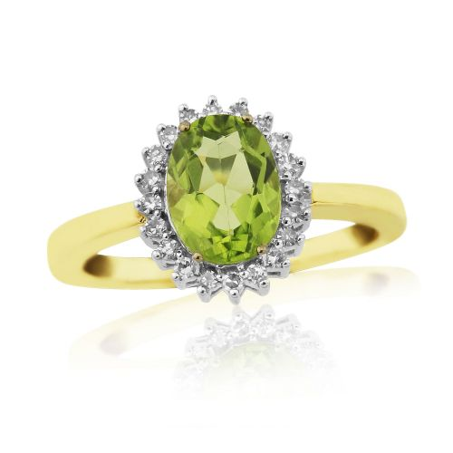 Oval Peridot And Diamond Yellow Gold Cluster Ring